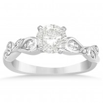Diamond Vine Leaf Engagement Ring Setting 14k White Gold (0.09ct)