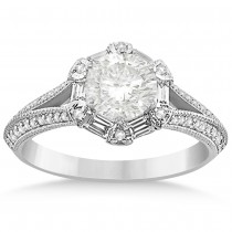 Diamond Round & Baguette Halo Engagement Ring 14k White Gold (0.49ct)