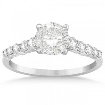 Diamond Accented Engagement Ring Setting 14k White Gold 0.36ct