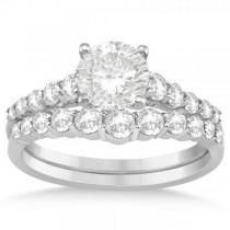 Graduated Diamond Accented Bridal Set Setting 14k White Gold (0.77ct)