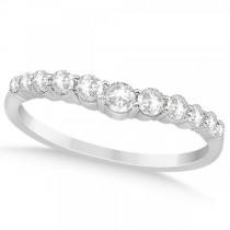 Diamond Accented Contoured Wedding Band 14k White Gold (0.41ct)