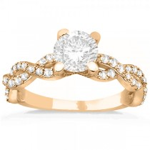 Diamond Infinity Twisted Engagement Ring Setting 14k Rose Gold 0.58ct