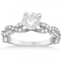 Diamond Infinity Twisted Engagement Ring Setting 14k White Gold 0.58ct