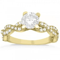 Diamond Infinity Twisted Engagement Ring Setting 14k Yellow Gold 0.58ct