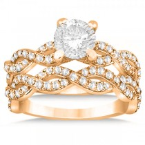 Diamond Infinity Twisted Bridal Set Setting 14k Rose Gold (1.13ct)