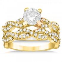 Diamond Infinity Twisted Bridal Set Setting 14k Yellow Gold (1.13ct)