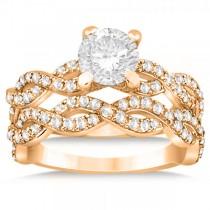 Diamond Infinity Twisted Bridal Set Setting 18k Rose Gold (1.13ct)