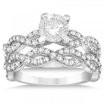 Diamond Infinity Twisted Bridal Set Setting 18k White Gold (1.13ct)