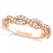 Diamond Twisted Infinity Ring Wedding Band 14k Rose Gold (0.55ct)