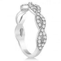 Diamond Twisted Infinity Ring Wedding Band 14k White Gold (0.55ct)