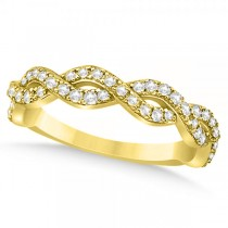Diamond Twisted Infinity Ring Wedding Band 14k Yellow Gold (0.55ct)