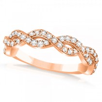 Diamond Twisted Infinity Ring Wedding Band 18k Rose Gold (0.55ct)