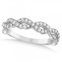 Diamond Twisted Infinity Ring Wedding Band 18k White Gold (0.55ct)