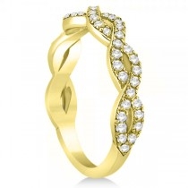 Diamond Twisted Infinity Ring Wedding Band 18k Yellow Gold (0.55ct)
