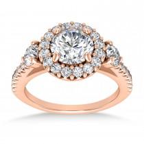 Diamond Fancy Halo Engagement Ring 18k Rose Gold (0.68ct)