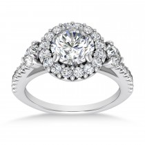 Diamond Fancy Halo Engagement Ring 18k White Gold (0.68ct)