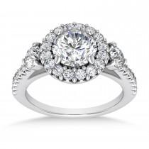Diamond Fancy Halo Engagement Ring Palladium (0.68ct)