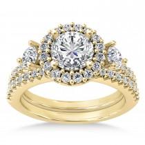 Diamond Fancy Halo Bridal Set 18k Yellow Gold (0.89ct)