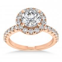 Diamond Sidestone Halo Engagement Ring 14k Rose Gold (0.61ct)