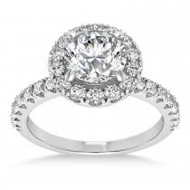 Diamond Sidestone Halo Engagement Ring 14k White Gold (0.61ct)