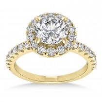 Diamond Sidestone Halo Engagement Ring 14k Yellow Gold (0.61ct)