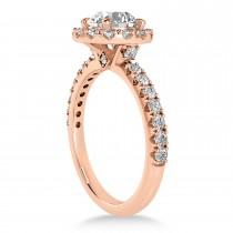 Diamond Sidestone Halo Engagement Ring 18k Rose Gold (0.61ct)