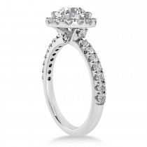 Diamond Sidestone Halo Engagement Ring 18k White Gold (0.61ct)