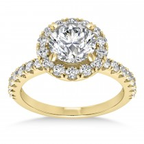 Diamond Sidestone Halo Engagement Ring 18k Yellow Gold (0.61ct)
