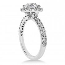 Diamond Sidestone Halo Engagement Ring Platinum (0.61ct)