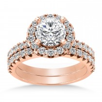 Diamond Accented Halo Bridal Set 14k Rose Gold (0.97ct)