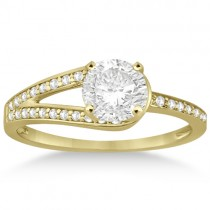 Pave Love-Knot Pave Diamond Engagement Ring 14k Yellow Gold (0.20ct)