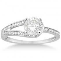 Pave Love-Knot Pave Diamond Engagement Ring Palladium (0.20ct)