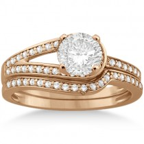 Love Knot Diamond Engagement Ring Set 14k Rose Gold (0.32ct)