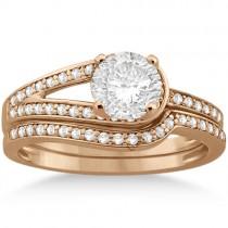 Love Knot Diamond Engagement Ring Set 14k Rose Gold (0.32ct)