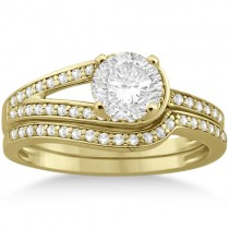 Love Knot Diamond Engagement Ring Set 14k Yellow Gold (0.32ct)