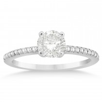 Diamond Accented Engagement Ring Setting 14k White Gold (0.18ct)