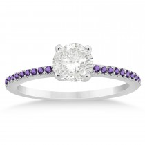 Amethyst Accented Engagement Ring 14k White Gold 0.18ct