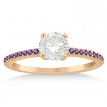 Amethyst Accented Engagement Ring Setting 18k Rose Gold 0.18ct