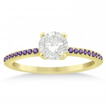 Amethyst Accented Engagement Ring Setting 18k Yellow Gold 0.18ct