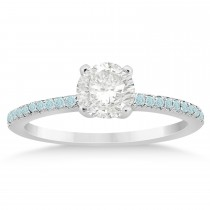 Aquamarine Accented Engagement Ring Setting 14k White Gold 0.18ct
