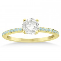 Aquamarine Accented Engagement Ring 14k Yellow Gold 0.18ct