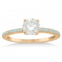 Aquamarine Accented Engagement Ring 18k Rose Gold 0.18ct