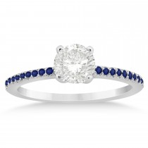 Blue Sapphire Accented Engagement Ring Setting 14k White Gold 0.18ct