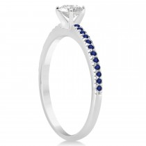Blue Sapphire Accented Engagement Ring 14k White Gold 0.18ct