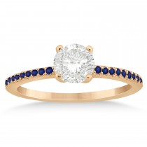 Blue Sapphire Accented Engagement Ring 18k Rose Gold 0.18ct