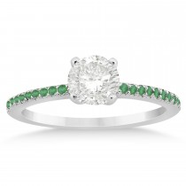 Emerald Accented Engagement Ring Setting 14k White Gold 0.18ct