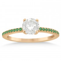 Emerald Accented Engagement Ring Setting 18k Rose Gold 0.18ct