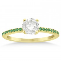 Emerald Accented Engagement Ring Setting 18k Yellow Gold 0.18ct