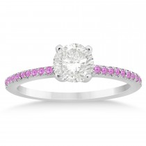 Pink Sapphire Accented Engagement Ring Setting 14k White Gold 0.18ct