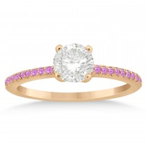 Pink Sapphire Accented Engagement Ring Setting 18k Rose Gold 0.18ct